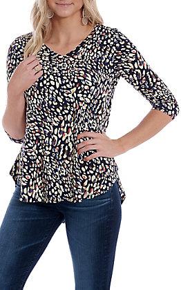 Honeyme Women's Navy Confetti Animal Print Fashion Top
