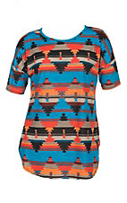 James C Women's Aztec Print Short Sleeve Fashion Top - Plus Size