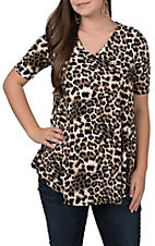 James C Women's Leopard Print 3/4 Sleeve Fashion Top