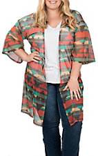 James C Women's Orange and Teal Aztec Print 3/4 Sleeves Mesh Kimono - Plus Sizes