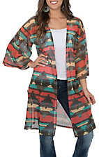 James C Women's Orange and Teal Aztec Print 3/4 Sleeves Mesh Kimono