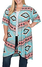 James C Women's Turquoise and Pink Aztec Print Kimono - Plus Size