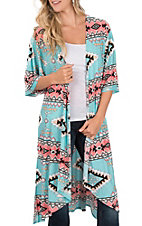 James C Women's Turquoise and Pink Aztec Print Kimono