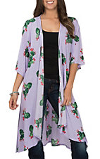 James C Women's Light Purple Cactus Print Kimono
