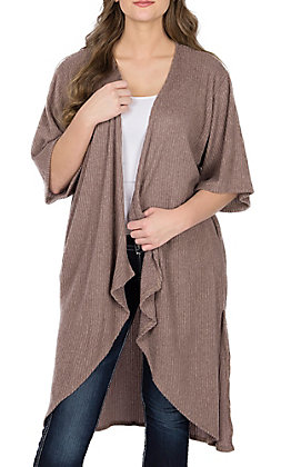 James C Women's Mocha Long Cardigan Duster