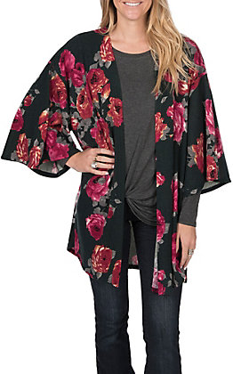James C Women's Floral Hunter Green Mid length Cardigan