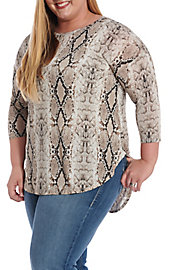edd982bf9e4 Honey Me Women s Brown Mocha Snake Print 3 4 Sleeve Fashion Top ...