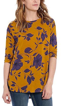 James C Women's Mustard & Purple Floral Print Fashion Top