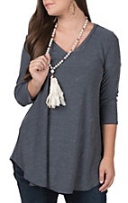 James C. Women?s Indigo Distressed V-Neck Tunic