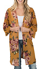 James C Women's Mustard Floral Print 3/4 Sleeves Mesh Kimono