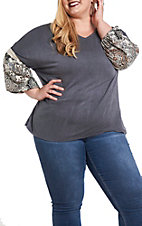 James C Women's Grey Distressed and Print Sleeves Fashion Top - Plus Size