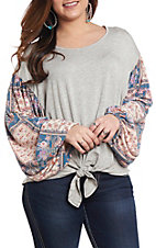 Women's Heather Grey Floral Print Fashion Top
