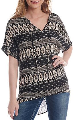 Honey Me Women's Black And White Aztec Print Poncho Fashion Top