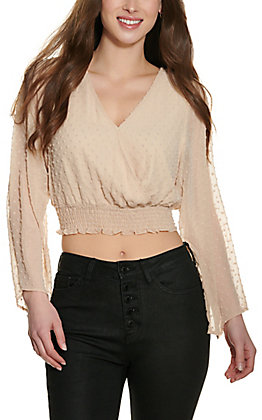 Peach Love Women's Beige Dotted Swiss Long Sleeve Crop Top