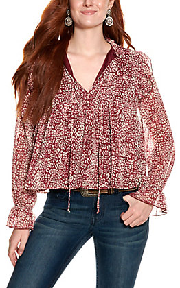 Peach Love Women's Burgundy and Cream Floral Print Long Sleeve Top