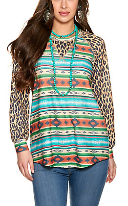 Fashion Express Women's Aztec Print with Leopard Long Sleeve Top