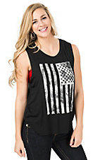 Mezzanine Women's Black with White Flag Tank Top