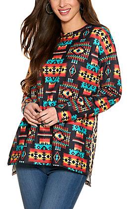 Fashion Express Women's Black Aztec Print with Leopard Print Long Sleeve Top