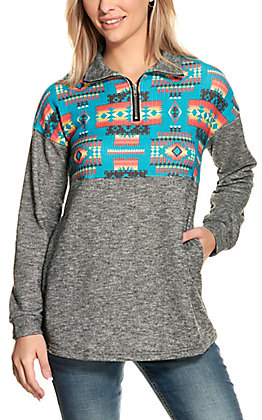 Fashion Express Women's Heather Grey and Turquoise 1/4 Zip Pullover