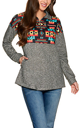 Fashion Express Women's Grey with Aztec Print Long Sleeve Pullover