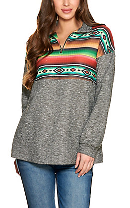 Fashion Express Women's Grey with Serape Stripe Long Sleeve Pullover