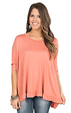 Peach Love CA Women's Coral with Ruffle Hem 1/2 Sleeve Casual Knit Top