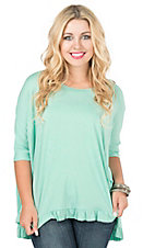 Peach Love CA Women's Mint with Ruffle Hem 1/2 Sleeve Casual Knit Top