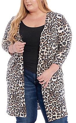 James C Women's Leopard & Lace Cheetah Print Cardigan - Plus Size