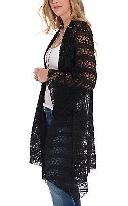 James C Women's Black Lace Kimono