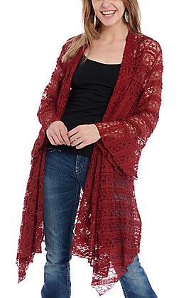 James C Women's Burgundy Lace Kimono