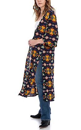James C Women's Navy Aztec Print Kimono