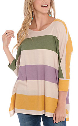 James C Women's Tan Multi Color Striped Fashion Top