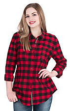 Fantastic Fawn Women's Red and Black Check Long Sleeve Fashion Top
