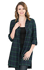 Fantastic Fawn Women's Green and Navy Plaid Long Sleeve Fashion Shirt