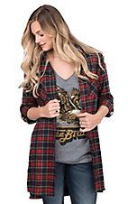 Fantastic Fawn Women's Green and Red Plaid Long Sleeve Fashion Shirt