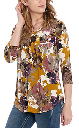 James C Women's Mustard Multi Floral Fashion Top