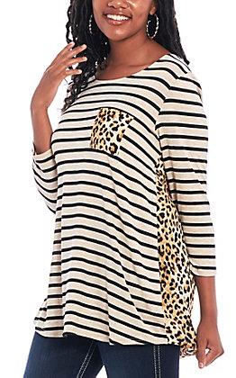 Honeyme Women's Black & Taupe Striped Cheetah Fashion Top