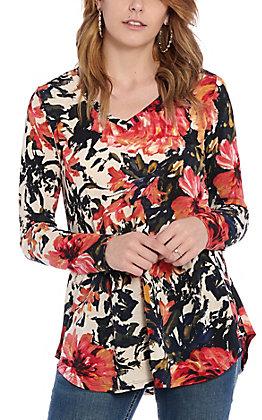 James C Women's Navy & Coral Multi Floral Fashion Top