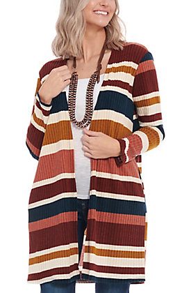 James C Women's Ivory & Mustard Striped Cardigan