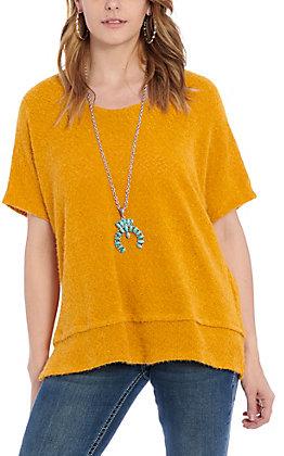 James C Women's Mustard Sweater Causal Knit Top