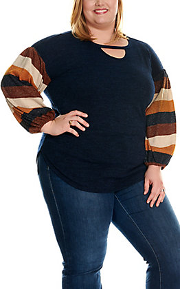 James C Women's Navy with Brown & Cream Shimmer Stripes Balloon Sleeves Fashion Top - Plus Sizes