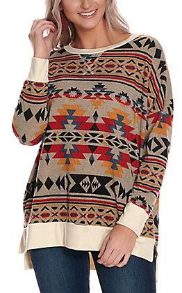 James C Women's Tan Aztec Print Long Sleeve Casual Knit Top