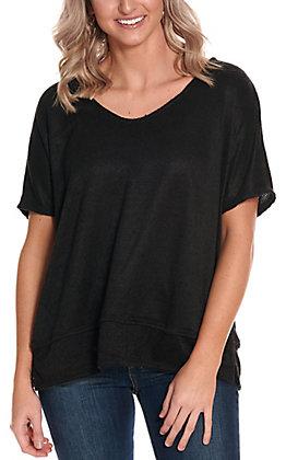 James C Women's Black Knit V-Neck Oversized Short Sleeve Casual Knit Top - Plus Sizes