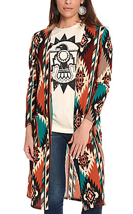 James C Women's Rust, Burgundy and Teal Aztec Long Sleeve Cardigan - Plus Sizes