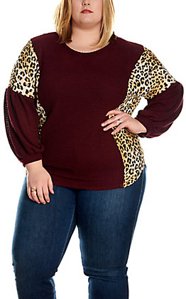James C Women's Maroon Waffle Knit with Leopard Long Balloon Sleeves Fashion Top - Plus Sizes
