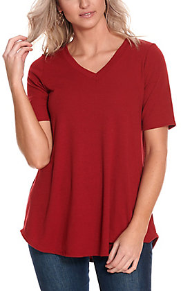 James C Women's Burgundy Ribbed V-Neck Short Sleeve Casual Knit Top