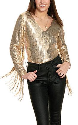 Fashion Express Women's Rose Gold Sequin Long Sleeve Bodysuit