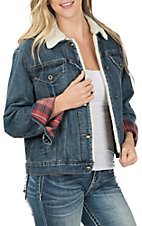 Grace in LA Women's Denim Plaid Sherpa Lined Jacket