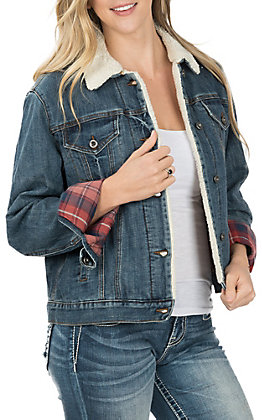 Grace in LA Women's Denim with Plaid and Sherpa Lining Jacket