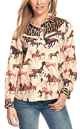 Fashion Express Women's Leopard and Horse Print Long Sleeve Top